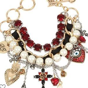 Mixed Heart Charm Multi Row Toggle Bracelet